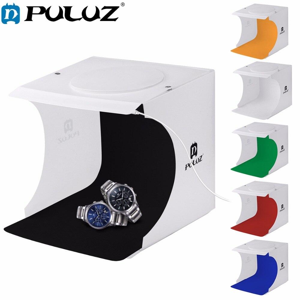 PULUZ 20*20 cm 8 Mini Pieghevole Studio Diffusa Soft Box Lightbox Con Luce LED Nero Bianco Fotografia di Sfondo Photo Studio box