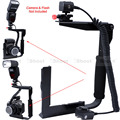 Multi-angle Metal Camera Holder Flash Bracket Adjustable Hot Shoe Mount + E-TTL Cord Cable for Canon Speedlite 600EX 270EX 220EX