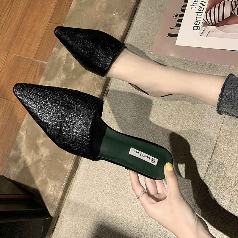 Summer New Lace Embroider Flat Mules Shoes Woman Lady Slippers Slip On Point Toe Women Mules Outdoor Slipper Shoes Woman Slides in Slippers from Shoes