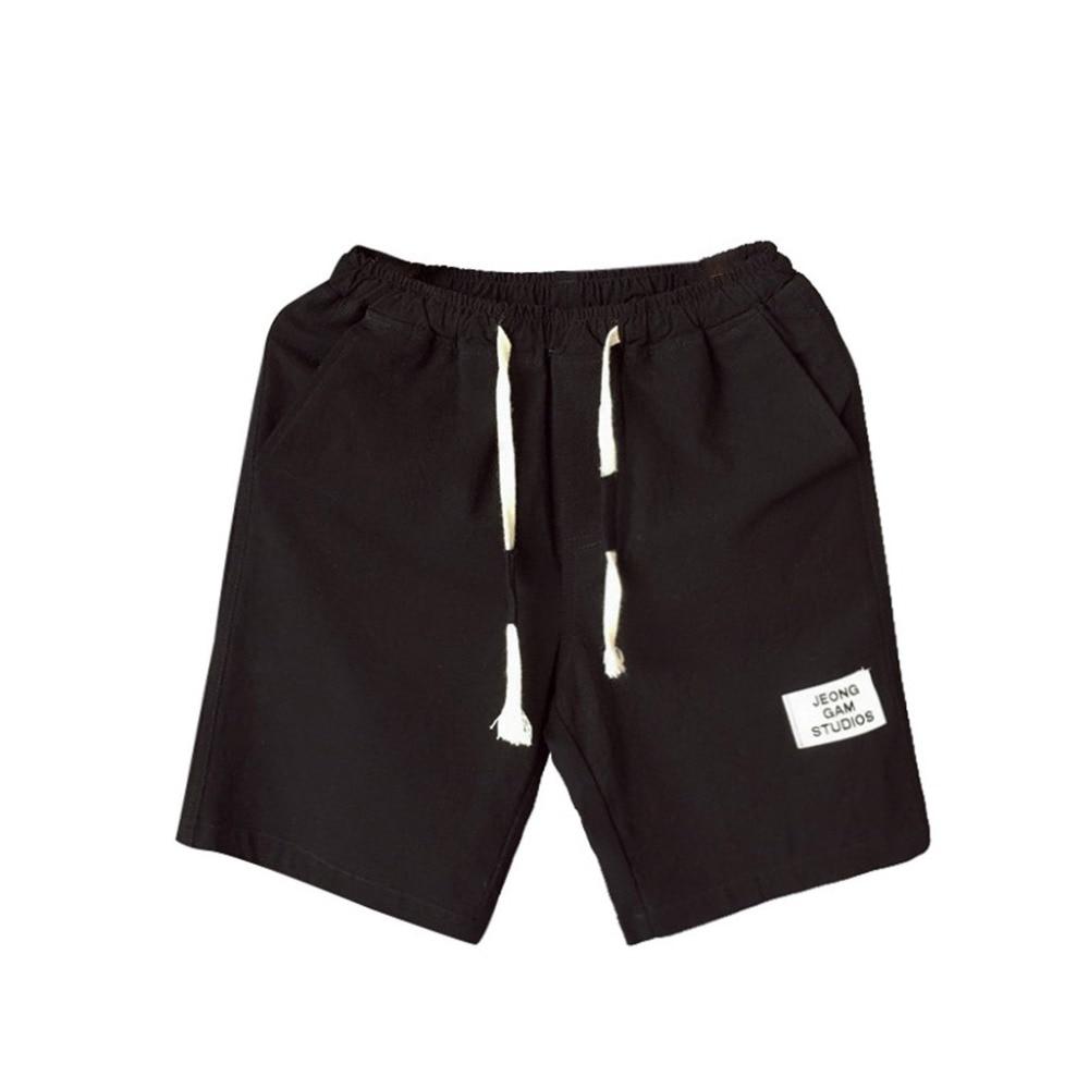 New Shorts Men's Summer Fashion Leisure Flax Large Size Loose Belt Drawstring Casual Short Baggy Harem Short @7