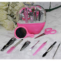 2016 New Hand Tool Manicure Set 9PCS Pedicure Tools Kit Nail Tools Mirror Nail Clipper Scissors Travel KIt Tool Case