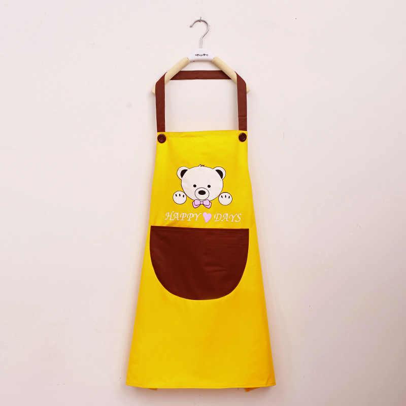Безрукавный фартук с рисунком медведя, домашний кухонный фартук, Женский кухонный водонепроницаемый масляный слинг 021