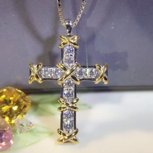 Brilliant  sona Simulated  Gem Cross Necklace For Women, Crossing Pendant Cross necklace