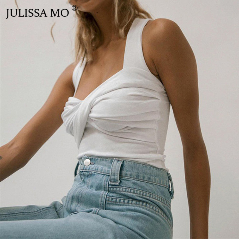 JULISSA MO White Knitted Sexy Bandage Crop   Top   Women Camis Summer Strapless Backless Short   Tank     Top   Casaul Wrap Knot Camisole