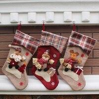 2016 New Large Long Legged Christmas Stocking Plaid Xmas Tree Decoration Ornaments Gift Candy Bag Christmas