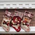 2016 Novos Grandes Pernas Longas Xadrez Meia Do Natal Saco de Doces de Presente da Decoração Do Natal Meias Decoração Da Árvore de Natal Ornamentos