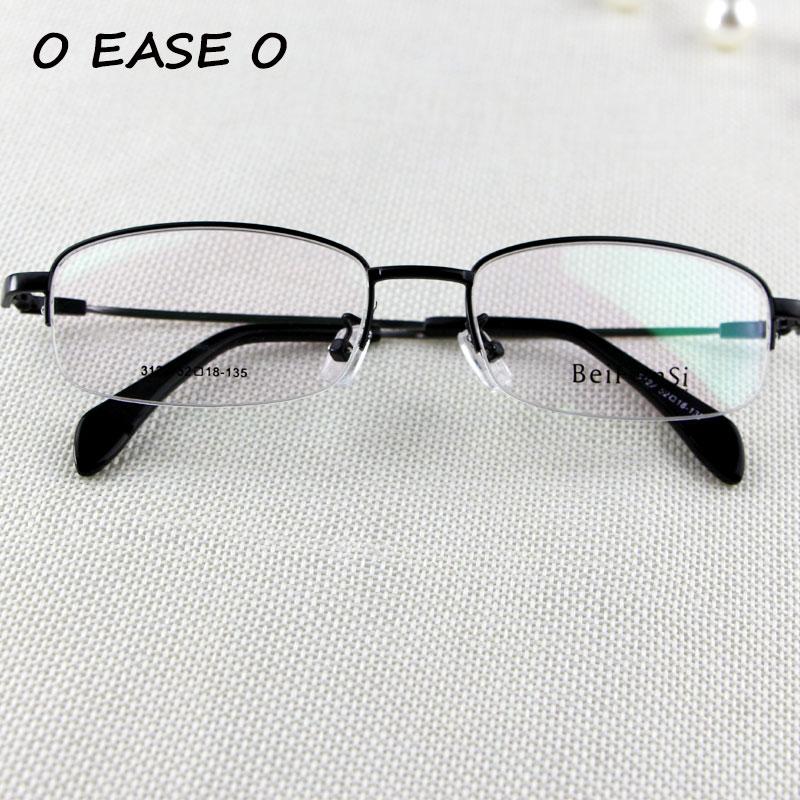 Setengah Bingkai Kacamata Logam Unisex Kacamata Memori Titanium ... 5e3afc7ded
