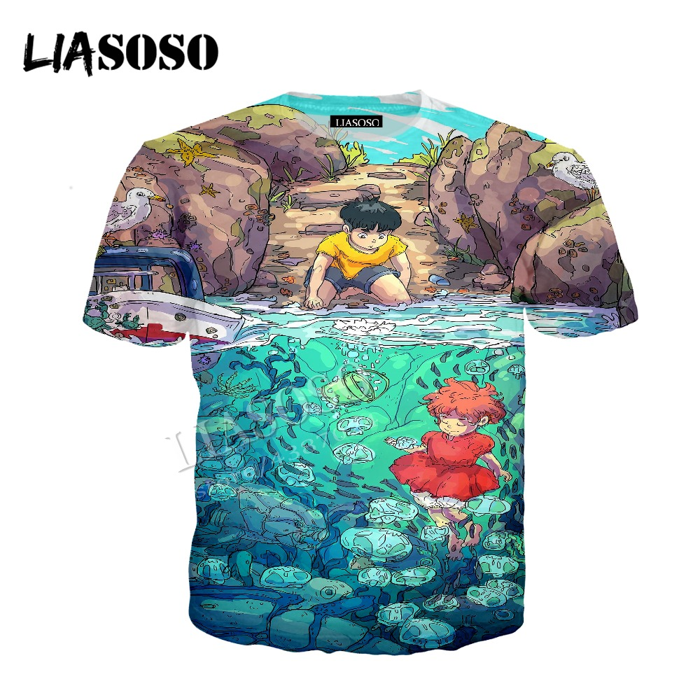 LIASOSO latest 3D printing polyester zipper hoodie Japanese anime Hayao Miyazaki Goldfish on the cliff men women sportswear C336