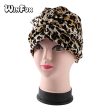 Winfox Fashion Leopard Cancer Chemo Hat Beanie Women Female Animal Muslim Turban Head Coverings Wrap Cap