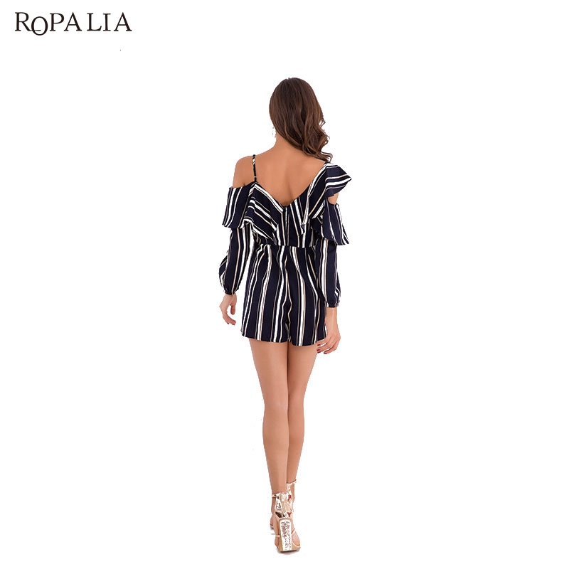 ROPALIA Summer Sexy Striped Printed Short Jumpsuit long sleeved One Shoulder Short Chiffon Jumpsuits rompers women jumpsuit