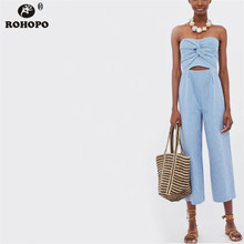 ROHOPO Striped Sky Blue Jumpsuit Sleeveless Strapless Office Ladies British Jumpsuits Tie Top Casual Mono #HY8550