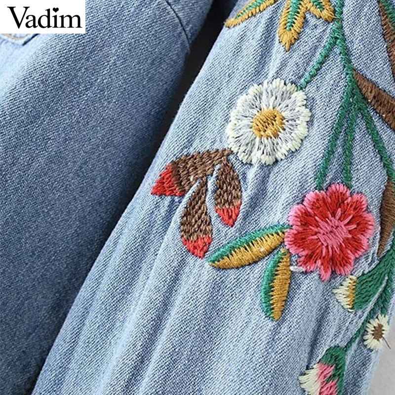 6a80989098d Women sweet flower embroidery denim shirts pockets long sleeve turn down  collar blouse female casual brand