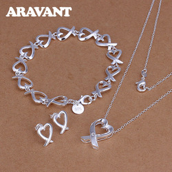Bridal Jewelry Sets Silver Color Heart Pendant Necklaces Chains Bracelet Stud Earring Women Fashion Wedding 925 Silver Jewelry