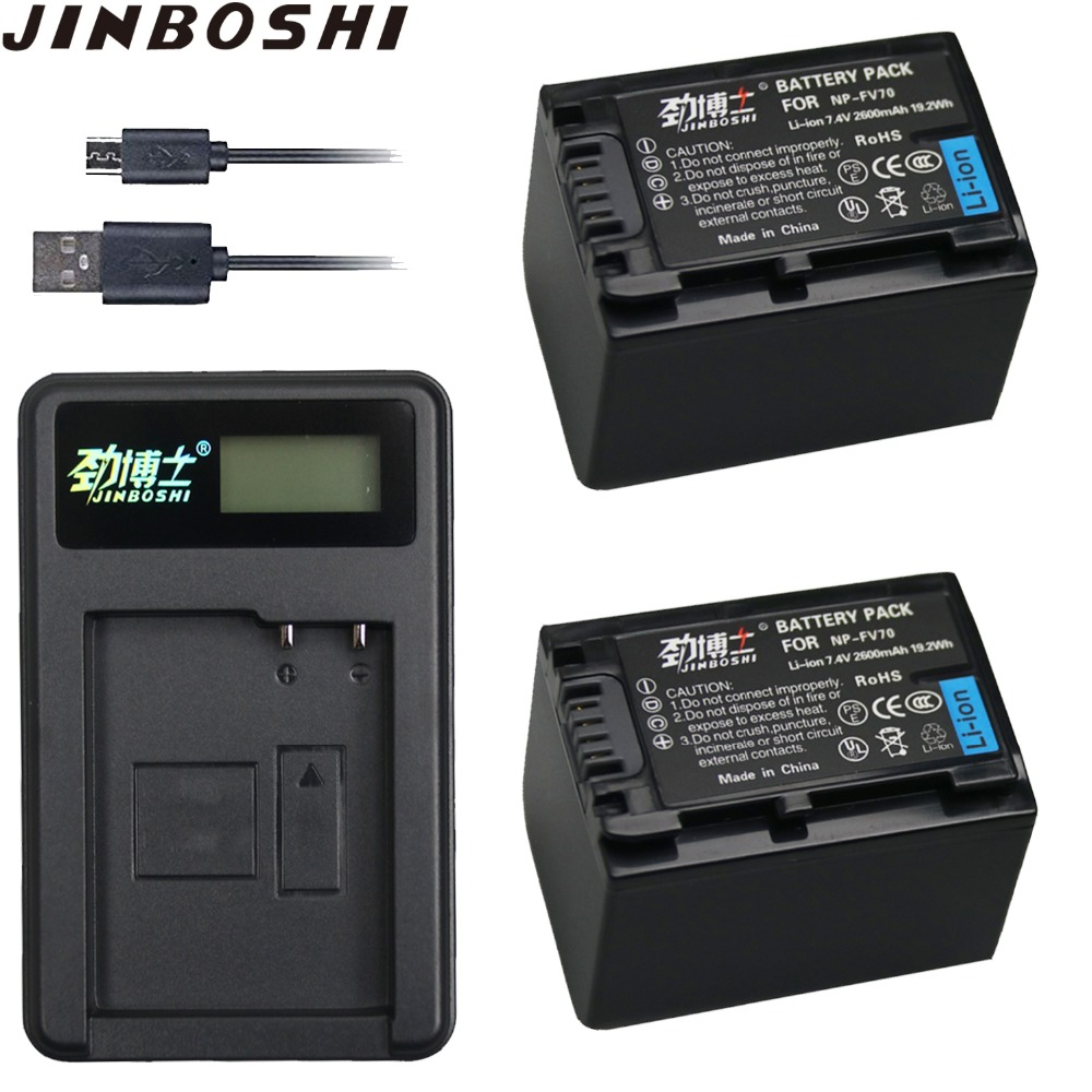 Rational 2 Pc 2600 Mah Np-fv70 Np Fv70 Npfv70 Li-ion Batterie & Lcd Usb Ladegerät Für Sony Np-fv50 Fv30 Hdr-cx230 Hdr-cx150e Hdr-cx170 Cx300 Ausreichende Versorgung Unterhaltungselektronik