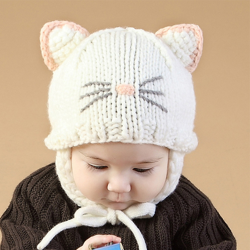 ee275d1e4b66be Knitted Baby Girls Hat Cute Cat Ears Beanie Ear Protection Hat For Girls  Handmade Crochet Cotton Beanie Autumn Baby Girls Hat-in Hats & Caps from  Mother ...