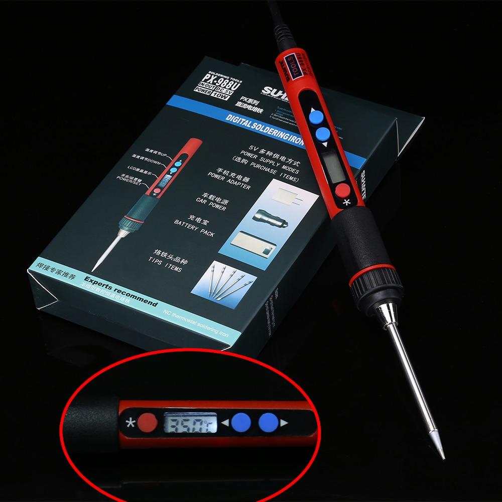 Portátil digital lcd usb ferro de solda 5 v 10 w ferro solda temperatura ajustável ferramentas de solda de ferro