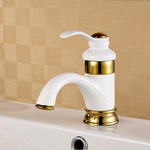 Livraison gratuite cuit au four peinture blanche salle de bain bassin mélangeur robinet de chaud froid antique salle de bain bassin évier robinets d'eau