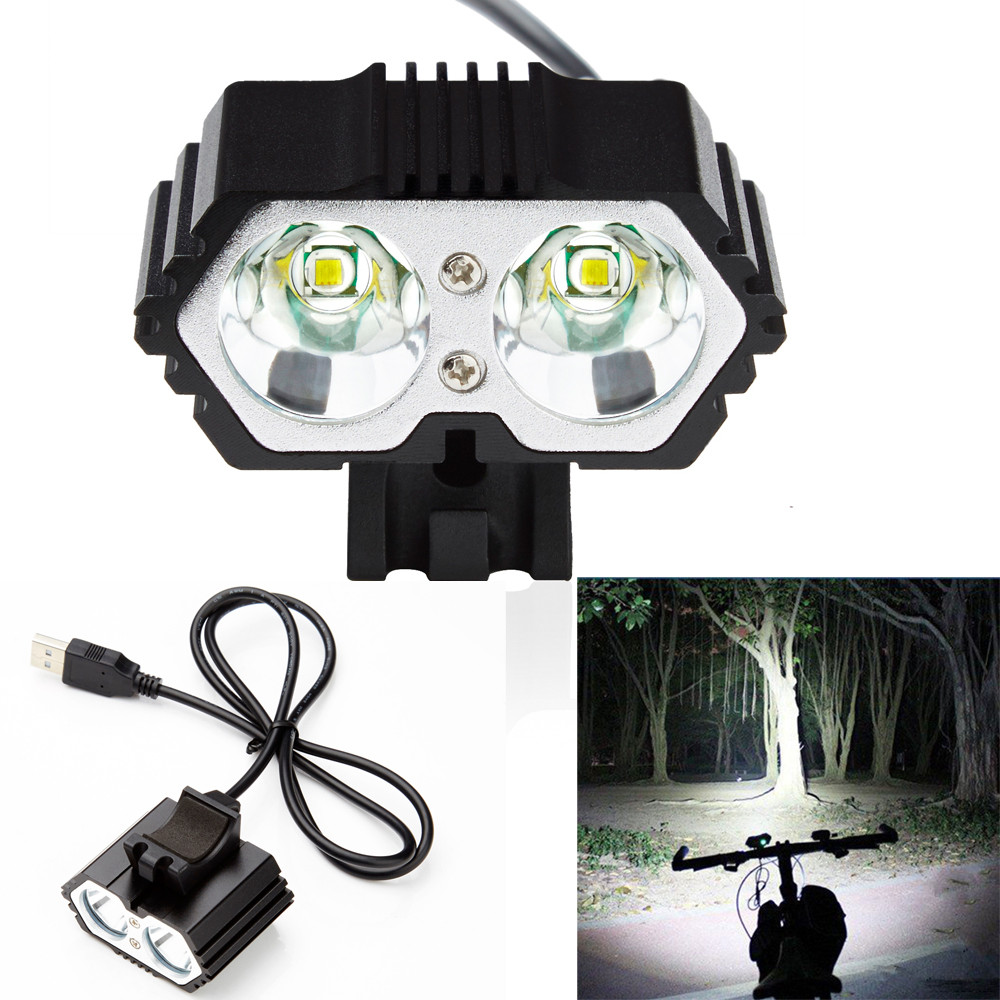 Bicycle Accessories Headlight Flashlight 6000LM 2 X CREE XM-L T6 LED USB Waterproof Lamp Bike Bicycle Headlight a21 2 cell cree xm l u2 2400lm led bicycle flashlight