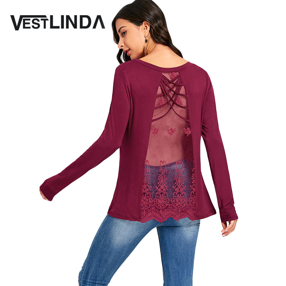 VESTLINDA T Shirt Women Fashion Casual Criss Cross Embroidered See Thru Panel Long Sleeve T-Shirt Ladies Top Tees Woman Clothes