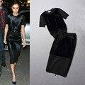 Free ship 2014 marca outono/inverno moda celebridade mulheres-manga curta camisola de malha de peles + fino saia busto twinset preto XL