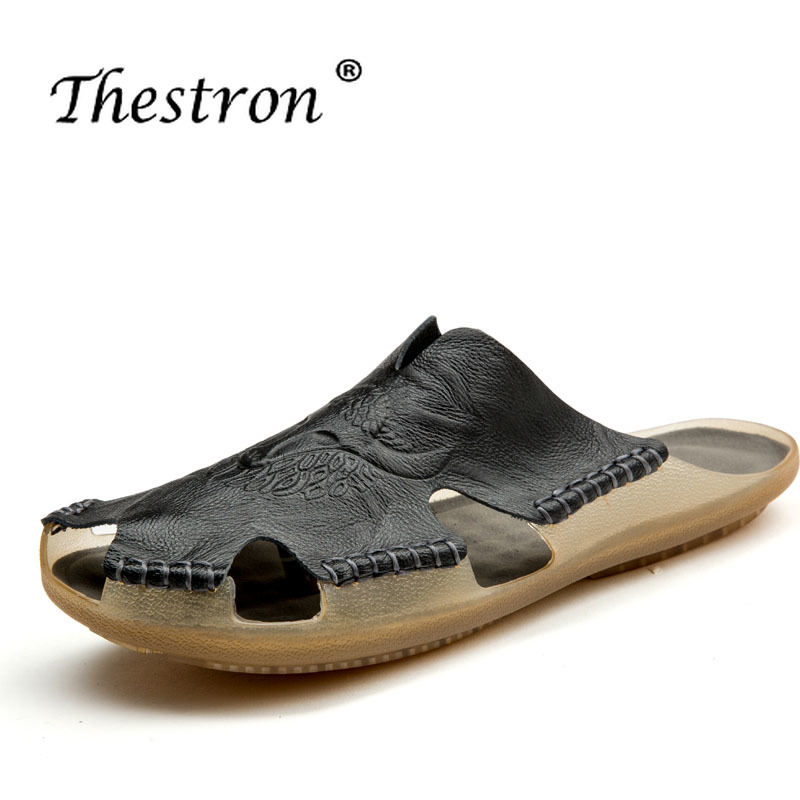 Walking Sandals Spring Thestron Mens Casual Comfortable Sandal Leather Men Black Mens Shoes 2018 in Slippers from Shoes