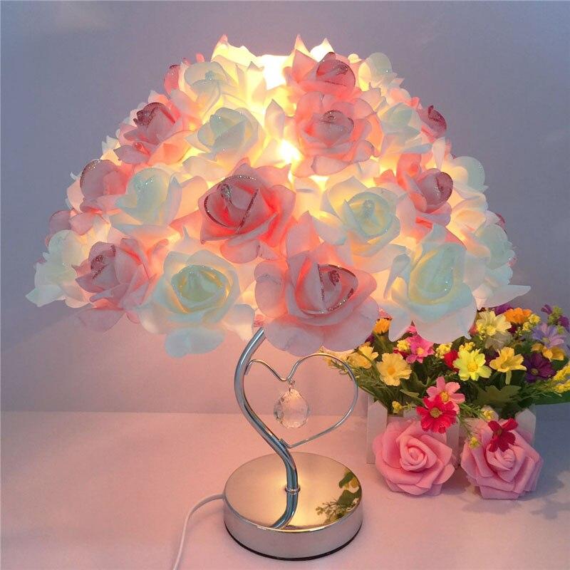 European crystal table lamp Rose flower Night Light bedside lamp home wedding party decor decoration lights indoor lighting недорго, оригинальная цена