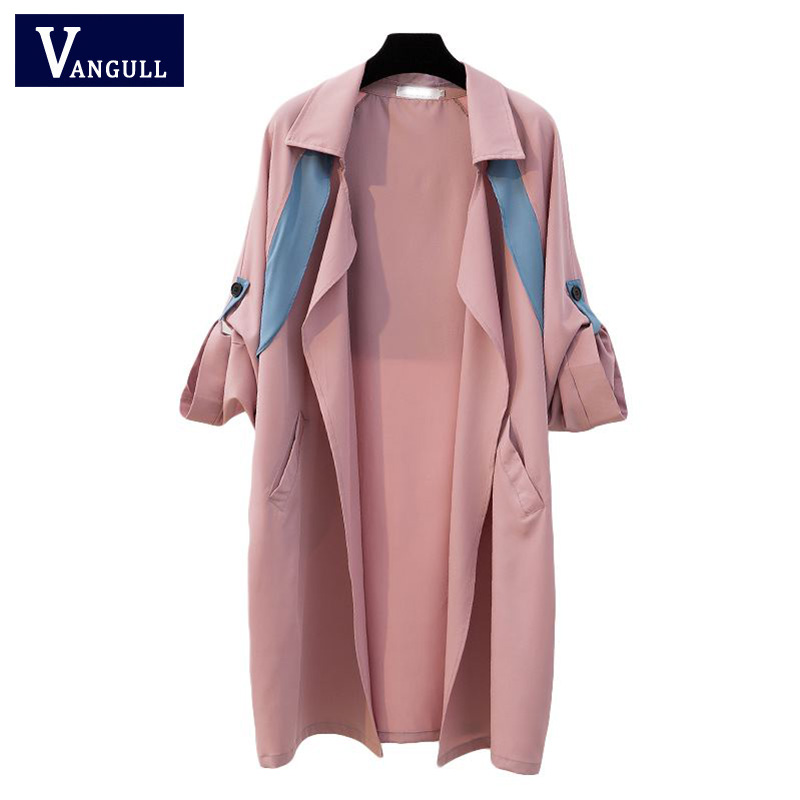 Casual Plus size Spring & Autumn Women's Clothing Patchwork Turn-down Collar Female Outerwear Wide-waist long Women   Trench
