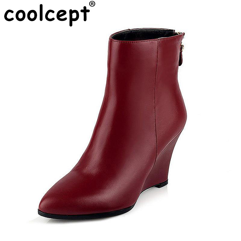 women real genuine leather martin wedge ankle boots half short botas autumn winter boot heels footwear shoes R7496 size 33-39