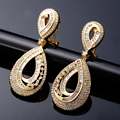 Hot Pick Classic Bridal Marriage jewelry New Fashion Luxury Sparkling white CZ crystal Women Drop shape earrings Wedding earring