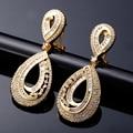 Picareta quente Clássico de Noiva Casamento jóias de Moda de Nova Luxo Espumante branco CZ cristal Mulheres Gota forma brincos de Casamento brinco