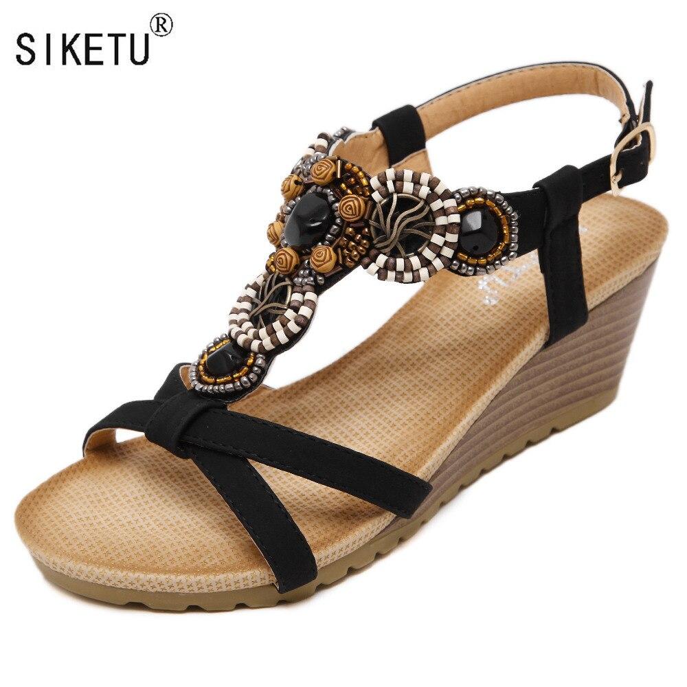 2017 Böhmen Keil Frauen Sandalen Sommer Vintage Strass Frau Flip-flops Strand Frauen Schuhe Siketu Marke