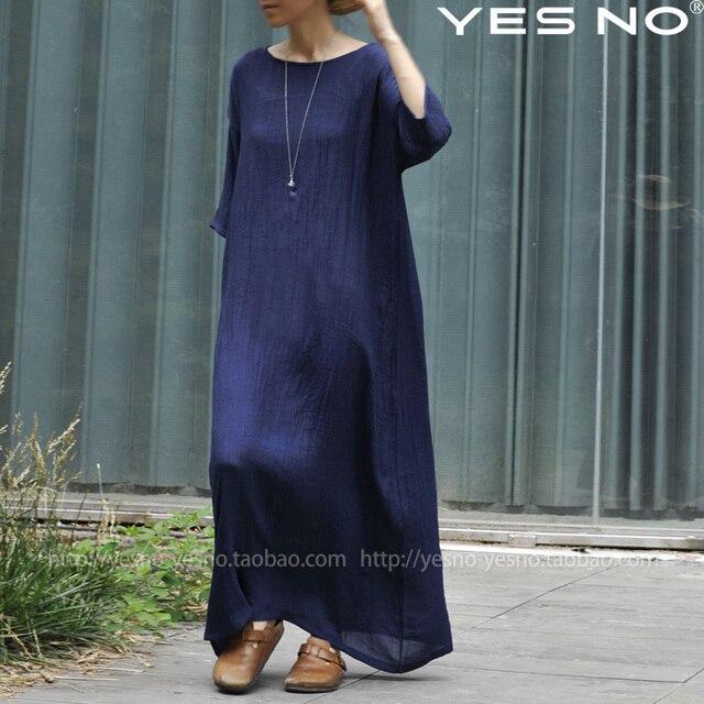 finest selection b394d 546ea US $38.0 |2014 nuovi arrivi delle donne vestiti lunghi abiti di lino  signore del bicchierino manicotto vestiti di un pezzo di lino disegno  irregolare ...