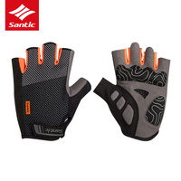 Santic Padded Cycling Gloves Shock proof Men Summer Half Finger Bike Bicycle Gloves Sports Gloves 2018 Luva Guantes Ciclismo