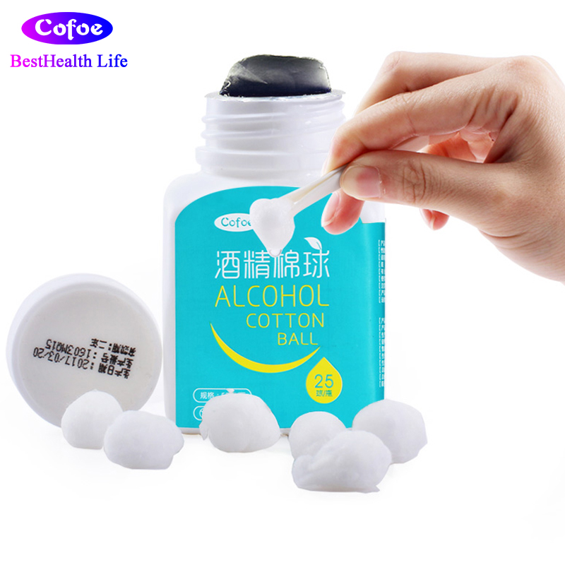 Cofoe 25pcs/Bottle Medical Alcohol Wipe Swab Pad Household Sterile Cotton Ball Skin Wound Cleanser Disinfect