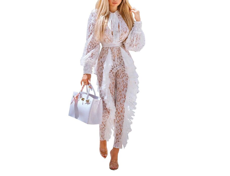 Christmas Jumpsuit Womens.Us 20 13 47 Off Sheer Long Sleeve White Lace Jumpsuit For Women Sexy See Through Floral Ruffles Bodycon Rompers Christmas Night Club Overalls In