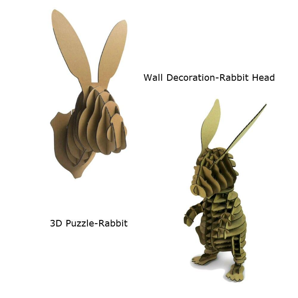 2 шт. голова кролика украшения стены Скульптура 3D головоломки картона DIY ручной работы Бумага Craft Творческий дом подарок украшения
