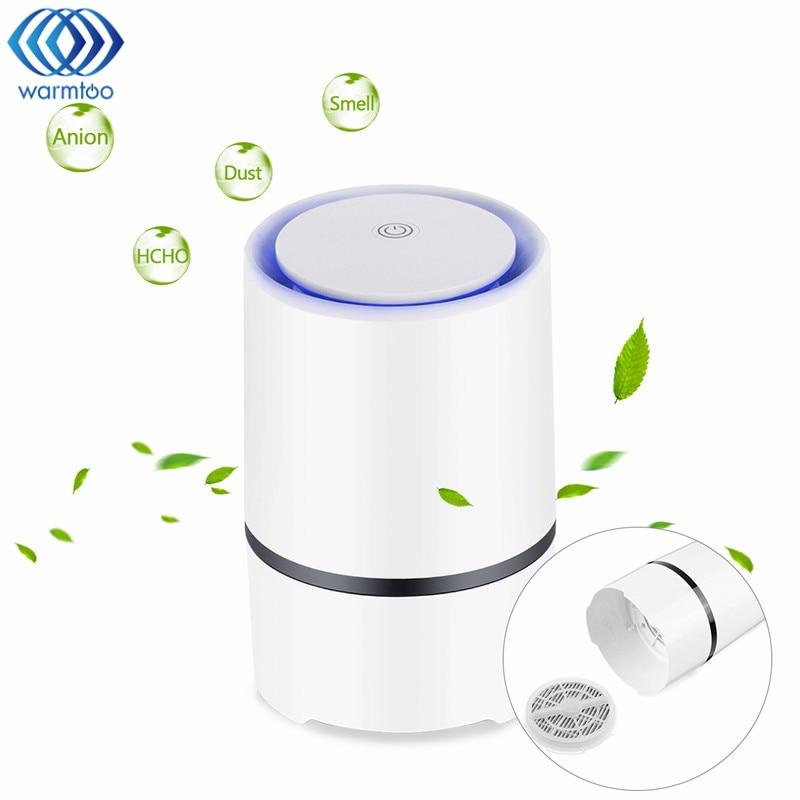 Mini USB Desktop Air Purifier Portable Ionizer Compact Odor Allergen Eliminator Anion Sterilization Purifier for Home Office Pet