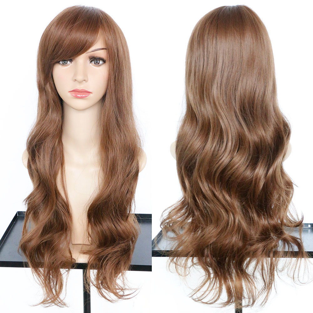 Womens Fashion wigs with bangs Wavy Curly Long Hair wigs front lace Similar to full lace wigs human hair 52323A