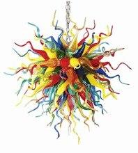 Multi Color Hand Blown Glass Chandelier LED Living Room Bedroom Dining Lighting for Sale AC 110-240v Bulbs