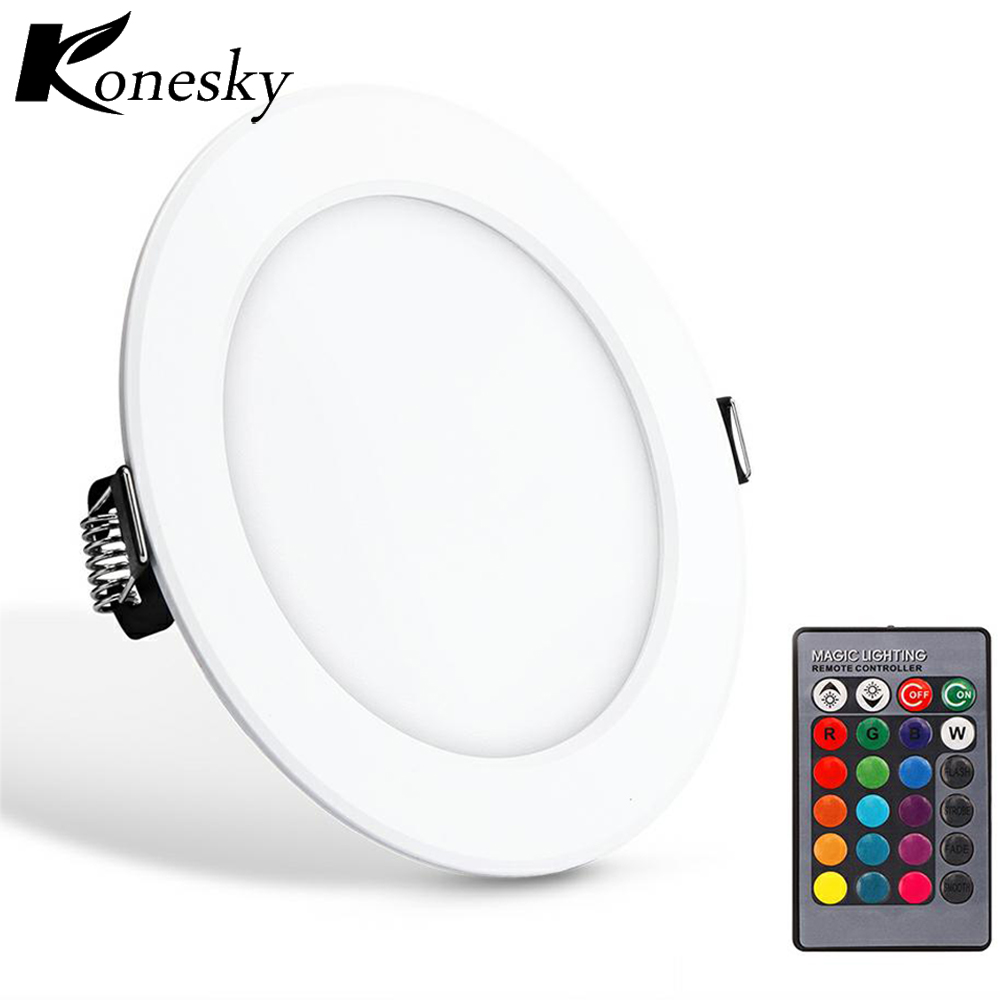 High quality with cheap price led panel light 36w 600x600 ac85 265v - Konesky Led Panel Downlight 5w Round Rgb Led Dimmable Recessed Ceiling Lamp Fixture Led Lighting
