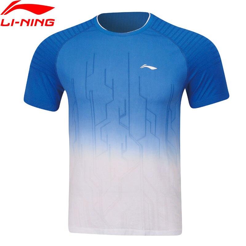 Li-Ning Men Badminton T-shirts Regular Fit AT DRY Breathable Mono Yarn LiNing Li Ning Sports Competition Tops AAYP067 MTS3047