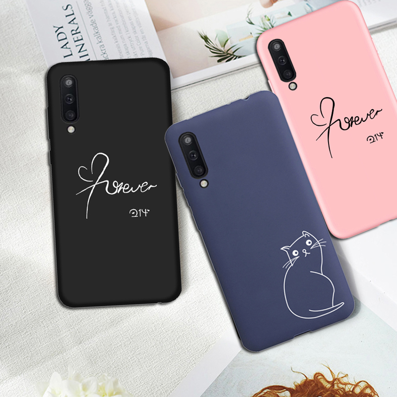 Luxury Soft Back Matte <font><b>Case</b></font> for <font><b>Samsung</b></font> galaxy A50 A30 A70 A80 A10 <font><b>A20</b></font> A40 A60 M10 M20 M30 M40 <font><b>Case</b></font> <font><b>Cat</b></font> Silicone Back Cover Capa image