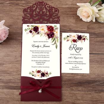 50pcs Burgundy New Arrival Horizontal Laser Cut Wedding Invitations with pearl ribbon,RSVP card,Customizable
