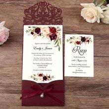Convites horizontais do casamento do corte do laser da chegada nova de 50 pces borgonha com fita da pérola, cartão de rsvp, customizável