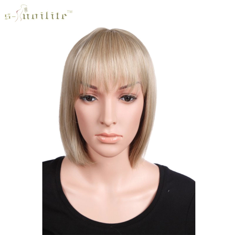 """SNOILITE 12"""" (32cm) Synthetic Bob Short Wig Golden Blonde Neat Bangs Hair for Daily Dress"""