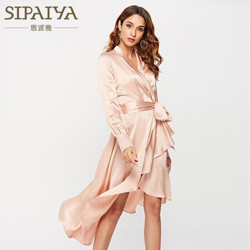 New 2018 women with irregular falbala long sleeved dress sexy silky smooth sleep dress