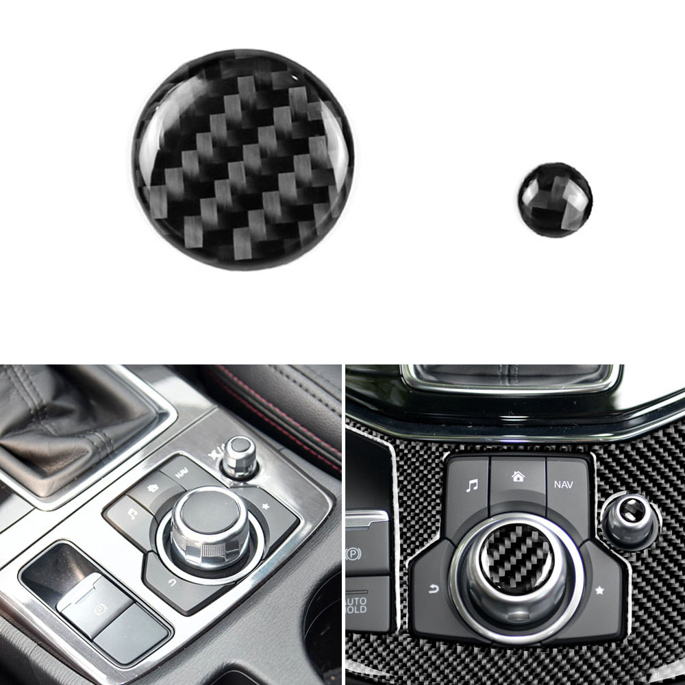 True 3D Real Carbon Fiber Parts Knob Volume Button Trim Sticker For Mazda 3 Mazda 6 CX-9 CX-5 CX8 2016 2017 2018