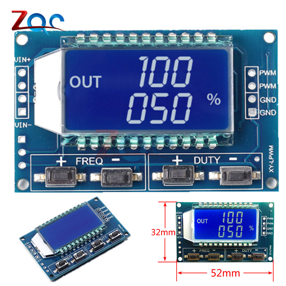 Signal Generator PWM Pulse Frequency Duty Cycle Adjustable Module LCD Display 1Hz-150Khz 3.3V-30V PWM Board Module