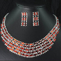 Elegant Crystal 18 K Gold Plated Women Costume Bridal Jewelry Bijous Promotion Fashion African Rhinestone Wedding Jewelry Sets