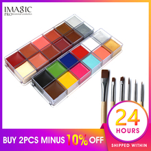 IMAGIC Body Painting With Brush Flash Tattoo Brand 12 Colors Face Paint Palette Halloween Makeup Temporary Glowing